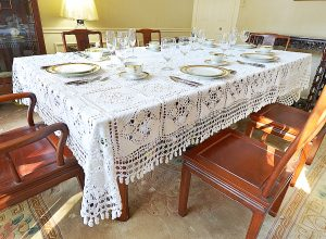 granny square crochet tablecloth
